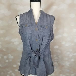 Jones NY szM blue sleeveless tie front blouse
